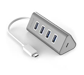 Aluminum Type-C to USB 3.0 Hub Adapter